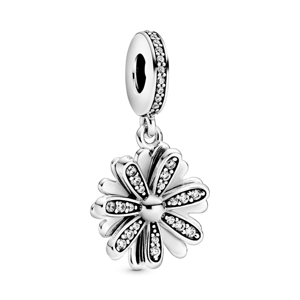 Daisy sterling silver dangle with clear cubic zirconia - Tilbehør / Smykker