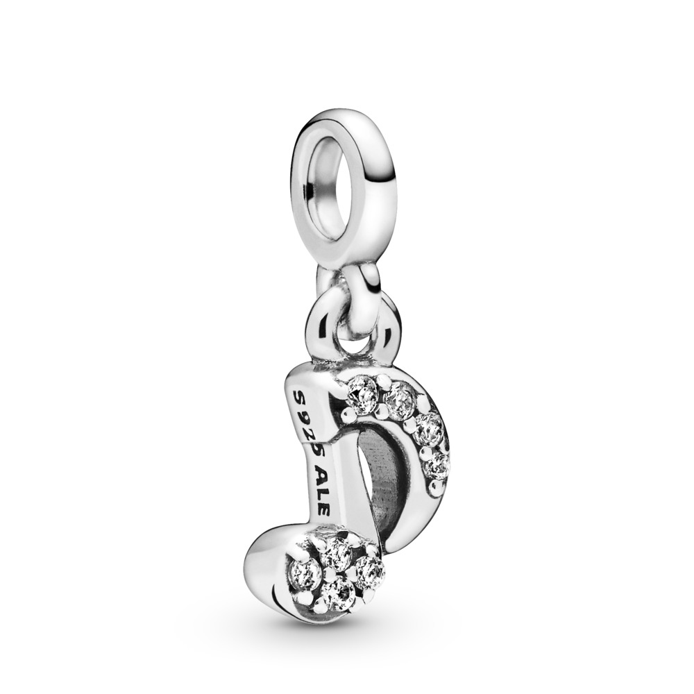 Musical note sterling silver dangle charm with clear cubic zirconia - Tilbehør / Smykker