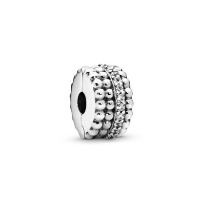 Beaded silver clip with clear cubic zirconia - Tilbehør / Smykker