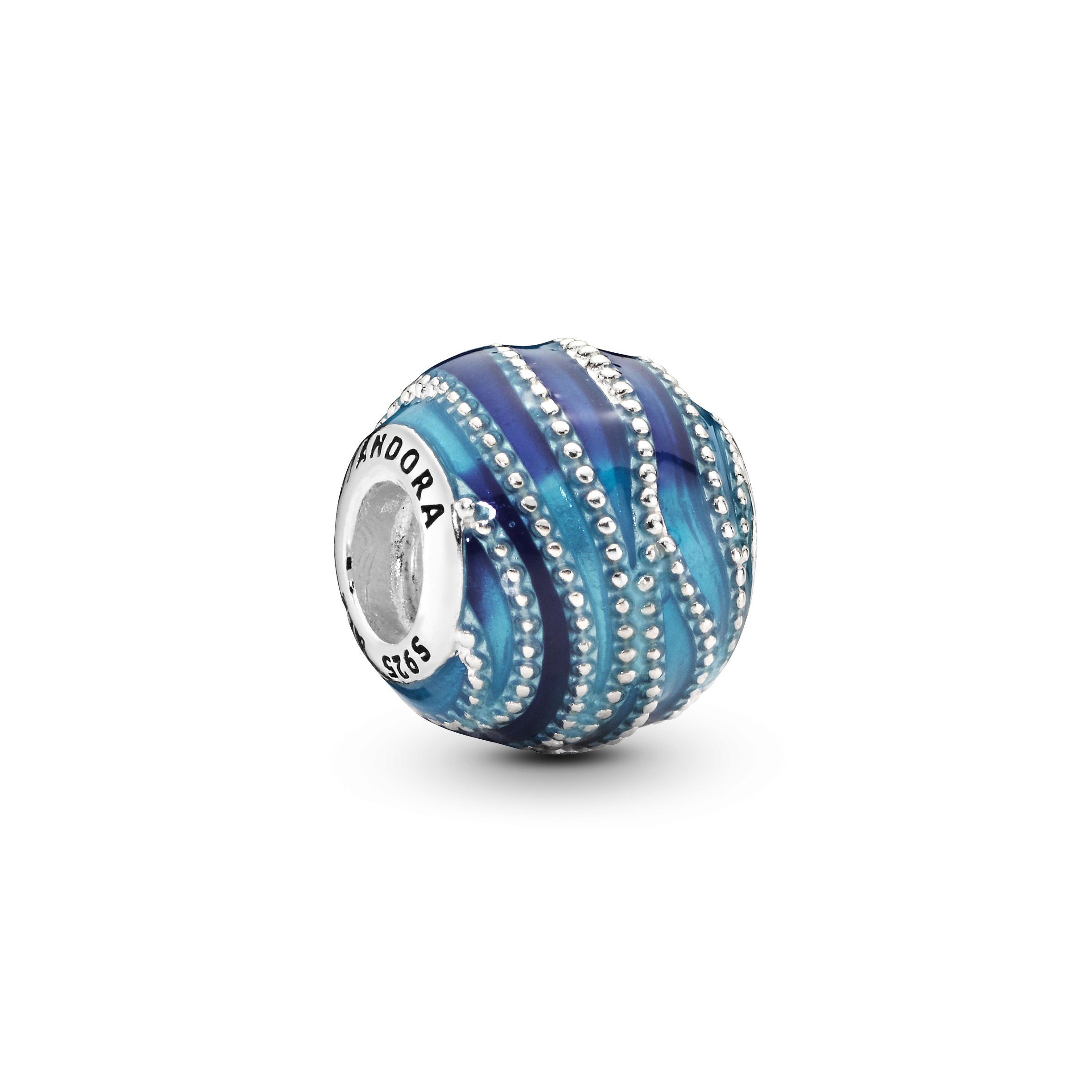 Water silver charm with mixed blue enamel colours - Tilbehør / Smykker