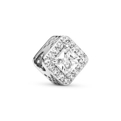 Silver charm with clear cubic zirconia - Tilbehør / Smykker