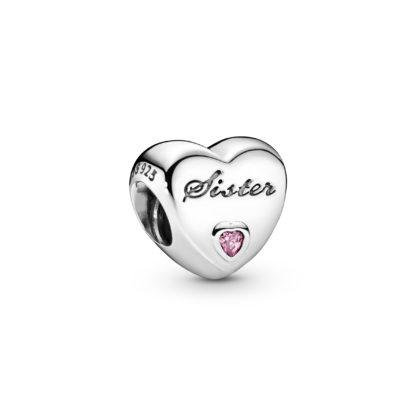Sister heart silver charm with pink cubic zirconia - Tilbehør / Smykker
