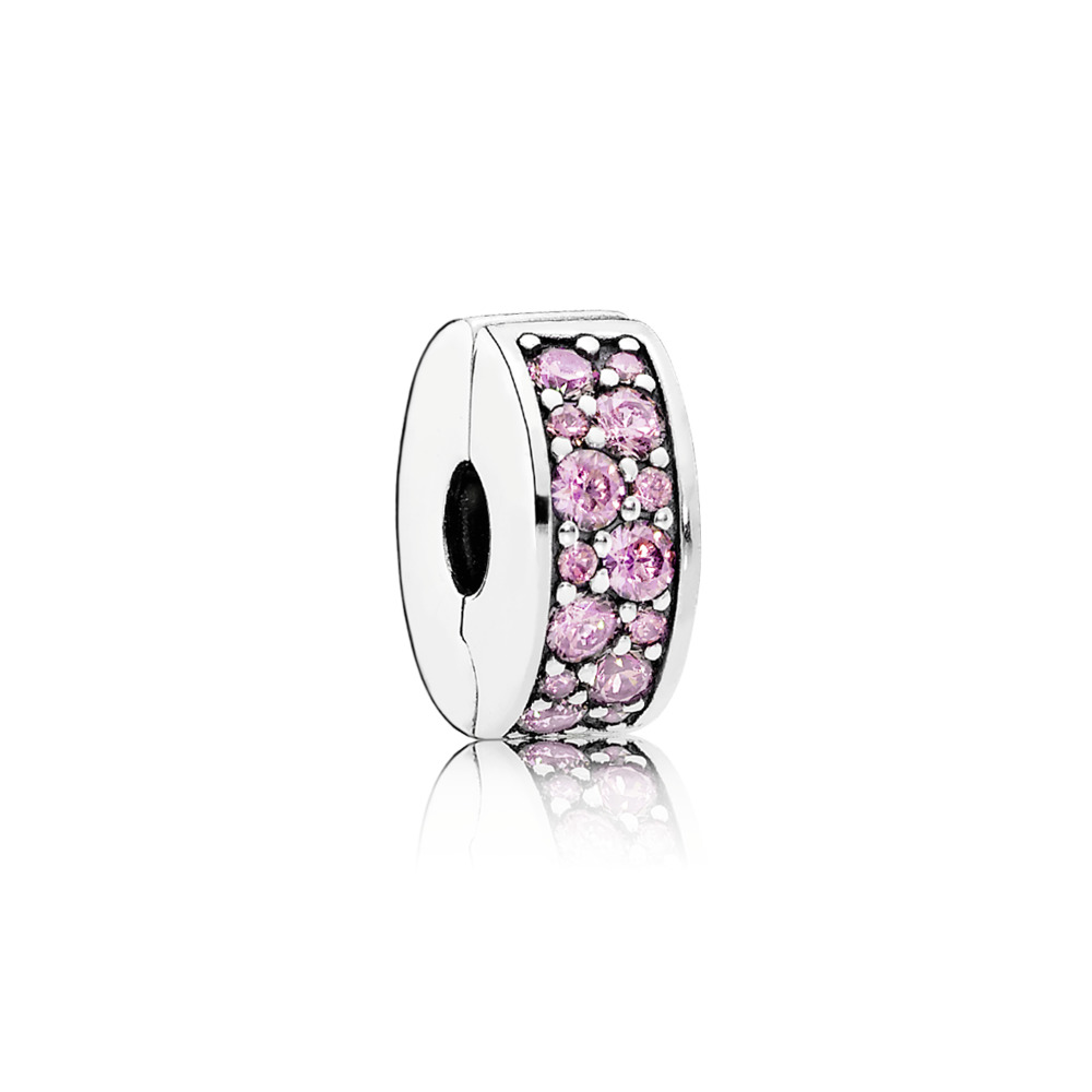Silver clip with pink cubic zirconia and silicone - Tilbehør / Smykker