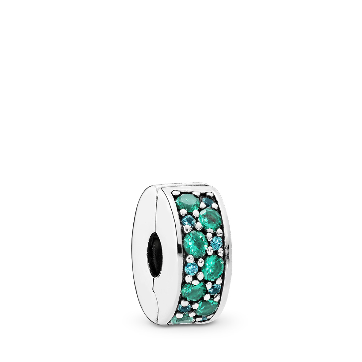 Silver clip w teal cubic zirconia and silicone - Tilbehør / Smykker