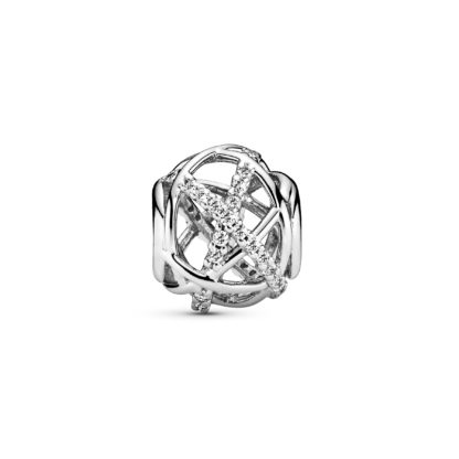 Openwork abstract silver charm with cubic zirconia - Tilbehør / Smykker