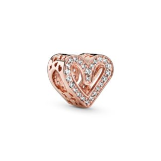 Heart Pandora Rose charm with clear cubic zirconia - Tilbehør / Smykker