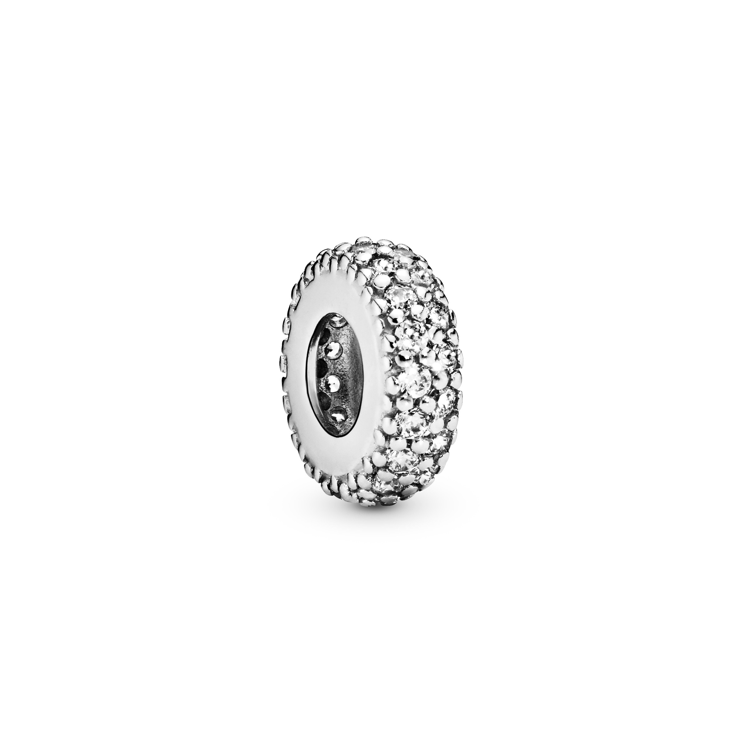 Abstract silver spacer with cubic zirconia - Tilbehør / Smykker