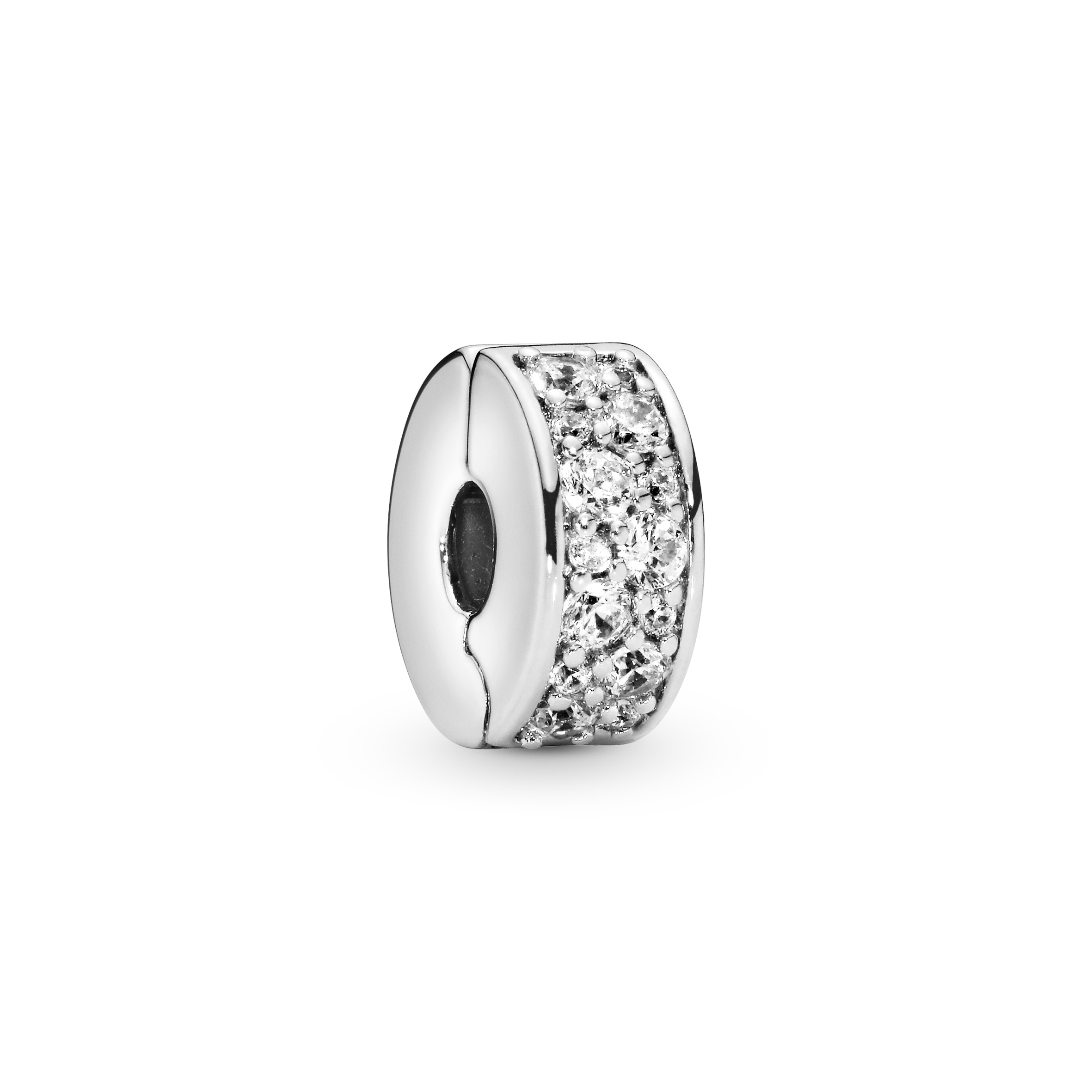 Silver clip w clear cubic zirconia and silicone - Tilbehør / Smykker