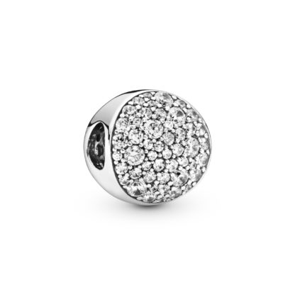 Abstract pave silver charm with clear cubzircon - Tilbehør / Smykker